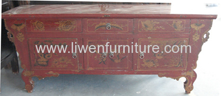 Old painted Gansu TV cabinet