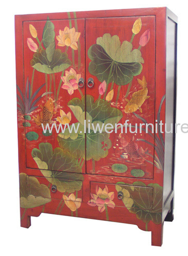 Red reproduction wooden cabinet