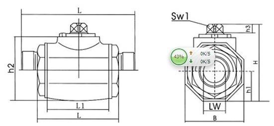 KHB stainless steel high pressure ball valve KHB-06, G3/8