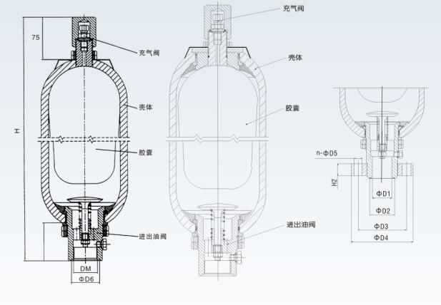 High pressure Hydraulic Bladder accumulator