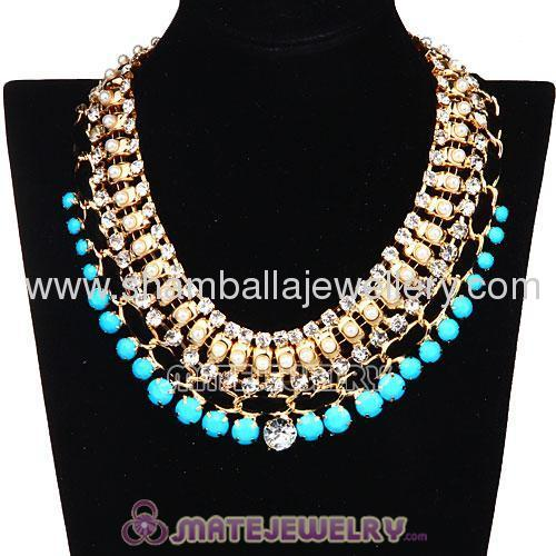 colorful costume jewellery beaded statement collar necklace