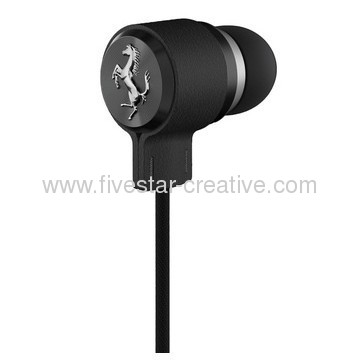 Ferrari by Logic3 Cavallino T150 Black In-Ear Headphones with Inline Mic and Single Button Remote