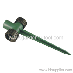 Plastic two way garden sprinkler spike