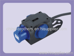 Industrial power cord plug with socket