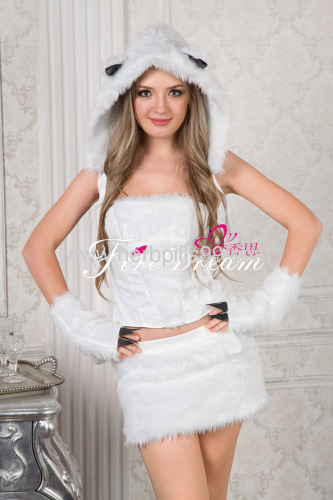 cosplay costume Beautiful white cat cosplay for ZF054