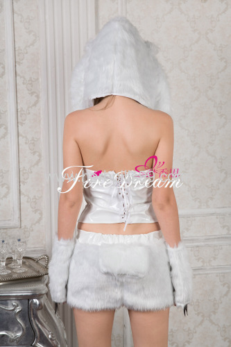 sexy products sexy lingeriecosplay costume Beautiful white cat costumes for cosplayZF-054