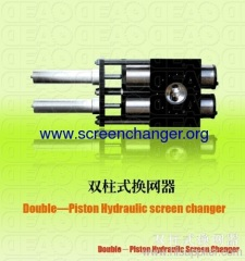 Continuous hydraulic double piston screen changer