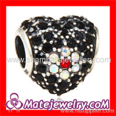 flower charm rhinestone heart beads