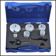 "8pcs Plumber's Hole Saw Kit; Sizs:3/4"" 7/8"" 1-1/8"" 1-1/2"" 1-3/4"" 2-1/4"" (19-22-29-38-44-57mm) 2 Mandrels"