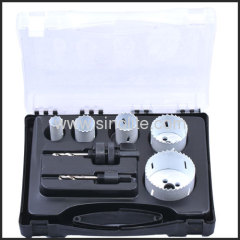 "7pcs HSS Bi-metal hole saw set; sizes:7/8"", 1-1/8"", 1-1/4"", 2"", 2-11/16"" (22-29-32-51-68mm) Arbors 3/8"" hex, 7/16"" hex"