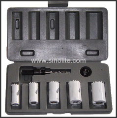 "7pcs Handyman Hole Saw Kit; 7/8""-1""-1-1/8""-1-1/4""-1-1/2"" (22-25-29-32-38mm) arbor: 3/8"" hex shank adatpor"