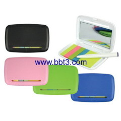Promotional plastic box with sticky notes,ballpen and mirror