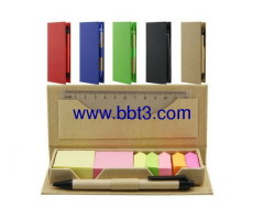 Promotional eco paper box with sticky notes and ballpen,ruler