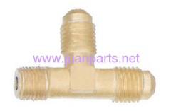 Brass fitting Right Angle Tee - Flare to NPT on run