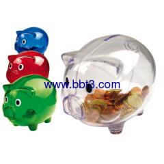 Promotional transparent plastic piggy coin bank