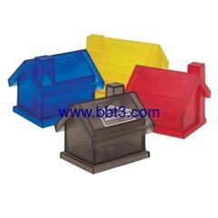 Promotional transparent house shape plastic coin bank