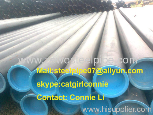 ASTM A106B Seamless Steel Pipe with black paint and plastic