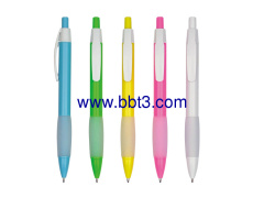 Promotional ballpen with colorful barrel and soft grip