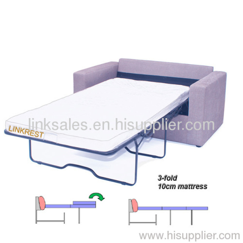 Thick Mattress 3 Fold Sofa Bed Mechanism