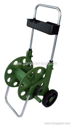60m metal garden hose reel cart with garden tools basket - Garden Hose Reel Cart