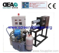 Double pillar screen changer for plastic extrusion machine