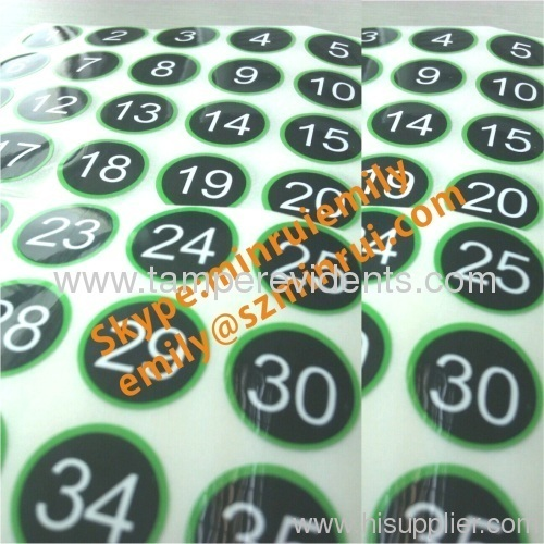 Custom Gloss Number Sticker Labels Round Numbered Stickers