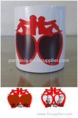 Sublimation Lover's Peach Heart Mug( Red Border)
