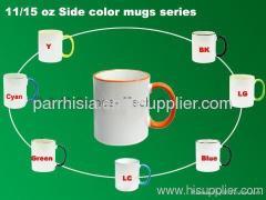Sublimation 11and 15 OZ Side Color series MUG