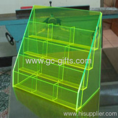 Fluorescent green slant 12-pocket acrylic brochure or shelf