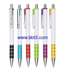 Promotional white barrel ballpen with metal clip