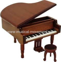 WOOD PIANO WIND UP MUSICAL GIFTS