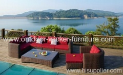 Garden wicker sofa with tea table sets