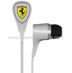 Ferrari by Logic3 Scuderia S100 White In-Ear Headphones with Inline Microphone for Smart Phones