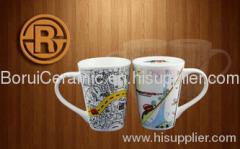 stoneware,porcelain,super white porcelain mugs,print the logo,decal mug