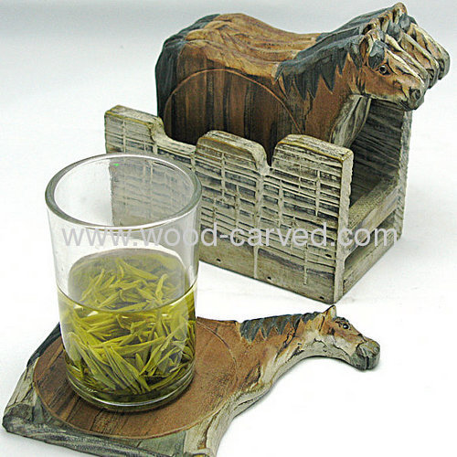 Wooden Carved horse shaped Coast Set