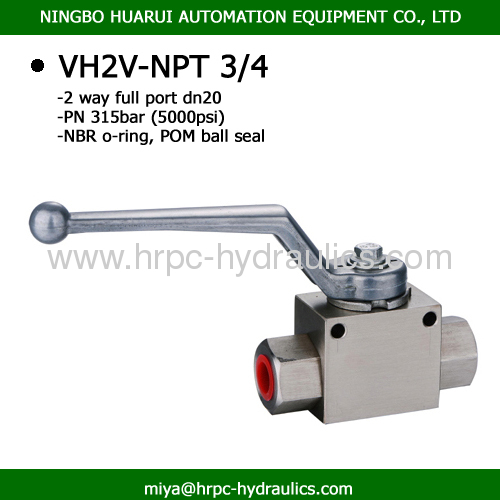 VH2V 2 way ball valves manufacturers for hydraulic fluid