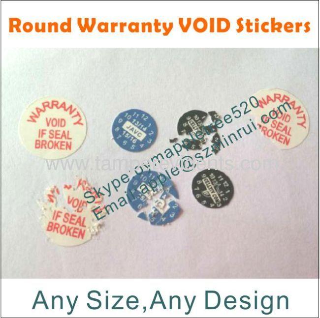 Tamper Evident Phone Warranty Stickers,Custom Printed Logo and Warranty Date Label,Destructible Warranty Void Sticker