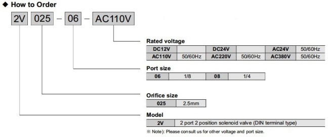 2V025-06 2 way solenoid valve