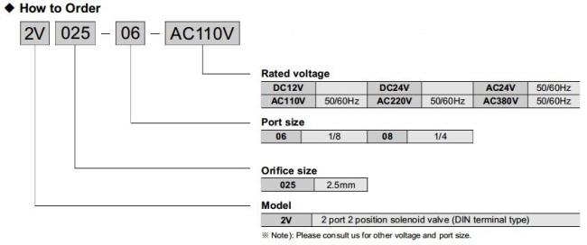 2V025-08 2 way solenoid valve