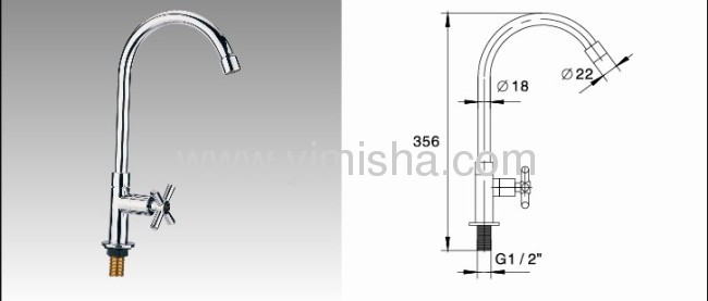 356mmx G1/2x dia.22mmx dia.18mm Vertical PolishedKitchen Faucet with SingleCross Handle