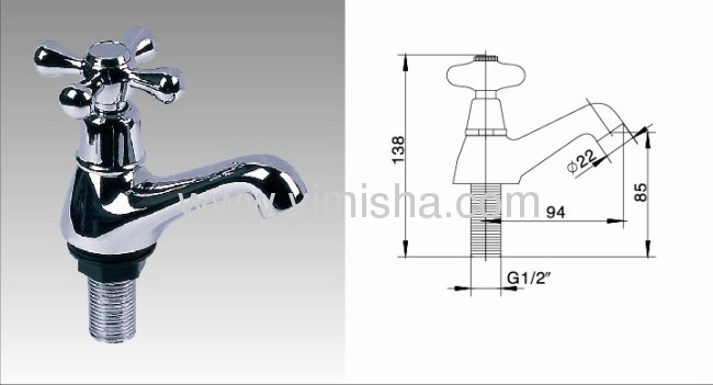 138mmx85mm x94mm x G1/2x dia.22 Vertical Brass Chrome Plated Antique PolishedFaucet with Cross Handlefor Basin