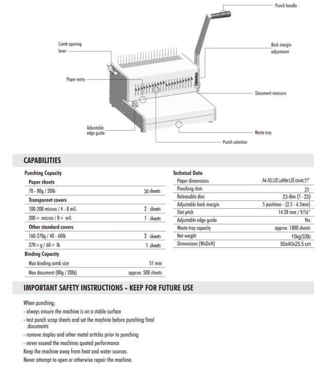 30 Sheet Punch Manual Comb Binding Mchine