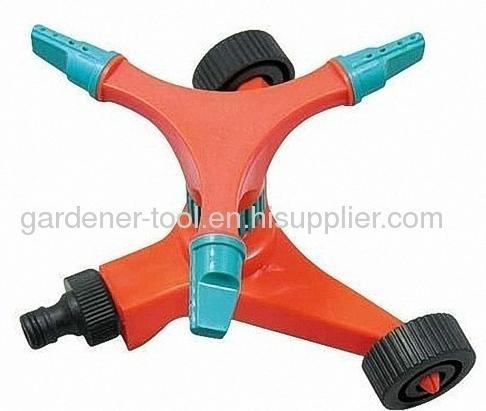 Plastic 3-Arm Garden Water Sprinkler With Wheel Base Lawn Sprinkler Yard Sprinkler Plastic Garden Hose Sprinkler
