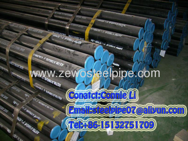 DIN seamless steel pipe with Plastic cap and black paint