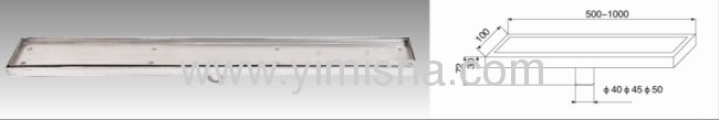 Tile Insert Linear Channel Drain with Outlet Diameter 40mm,45mm or 50mm