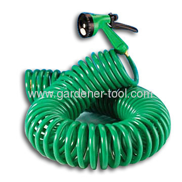 15M EVA Garden Coil Hose With Plastic 4-Pattern Hose Nozzle As Garden Water Hose To Irrigate Plant,Car Washing
