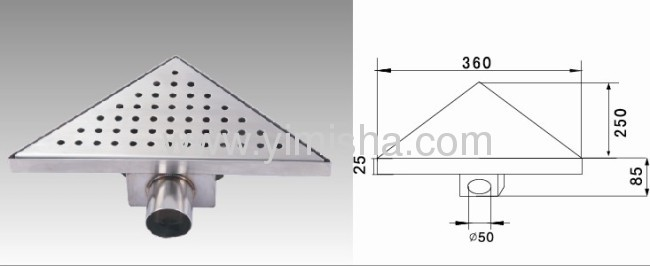 Triangle Stainless Steel Floor Drain with Side Outlet