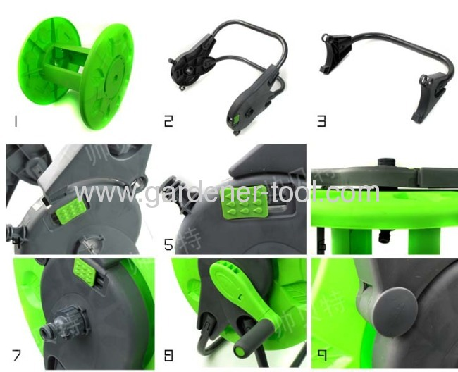 Plastic Folded Water Hose Reel With Capacity 45M 13MM PVC Reinforcement Hose