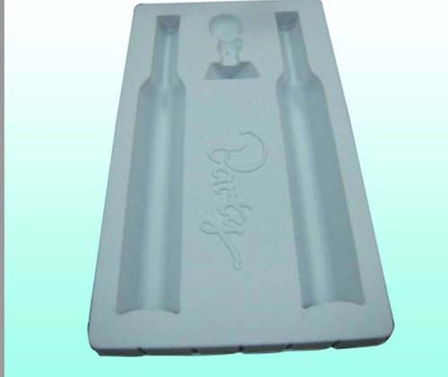 Plastic flocking blister packaging tray for bottled wine