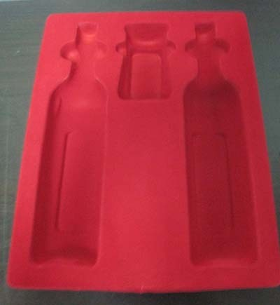Plastic Vacuum forming flocking blister packaging tray for wine